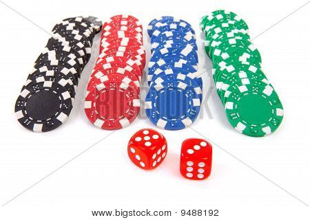 Colorful Poker Casino Chips And Red Dices