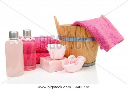 Pink Bath Accessory For Sauna Or Spa