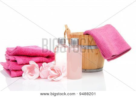 Pink Bath Accessory For Sauna Or Spa