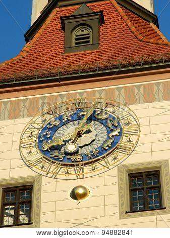 Zodiac Clock Closeup In Blue And Golden Colours.