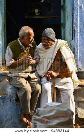 Jodhpur, India - January 1, 2015: Senior Indian Men In Jodhpur, India.