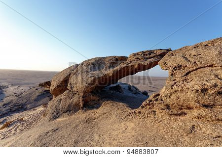 Rock Formation In Namib Desert In Sunset, Landscape
