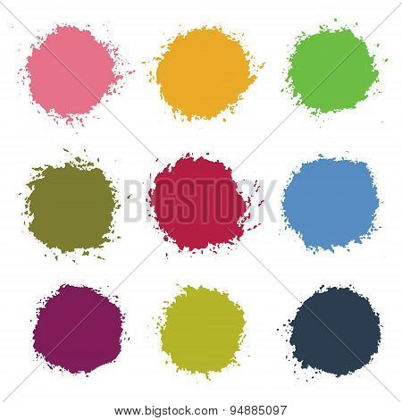 Colorful Vector Stains Blots Splashes Set. eps 10