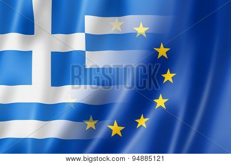 Greece And Europe Flag - 3D Illustration