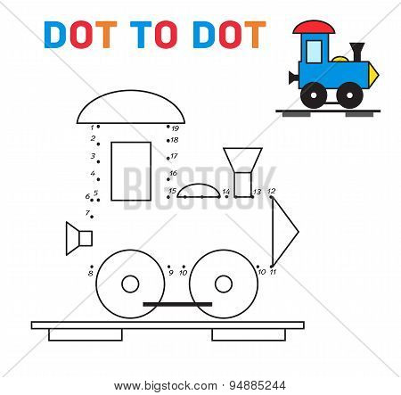 Connect the dots game train vector
