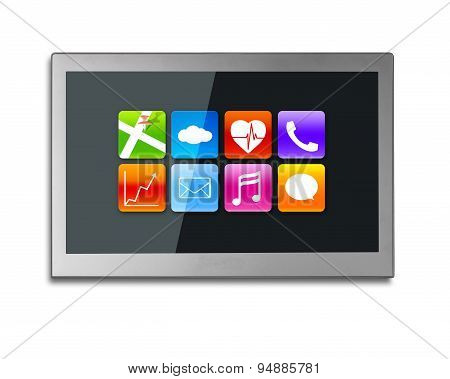 Black Wide Tv Screen With App Icons Isolated On White