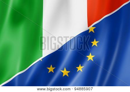 Italy And Europe Flag