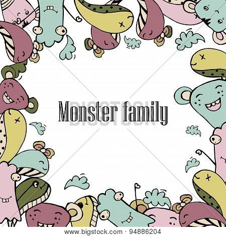 Vector illustration of Monsters and cute alien friendly, cool, cute hand-drawn monsters collection ,