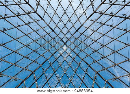 Geometric Shapes in the ceiling of the Glass Pyramid at the Louvre Museum.