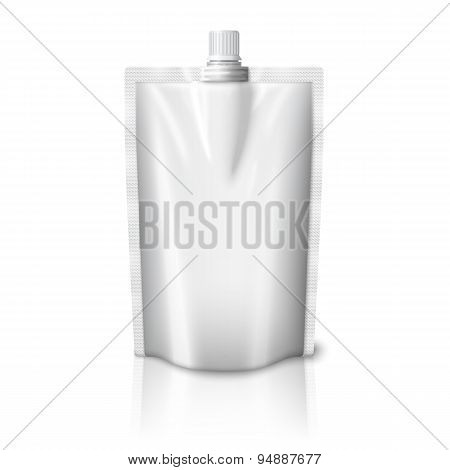 Blank realistic plastic pouch with cap, isolated on white background. Vector