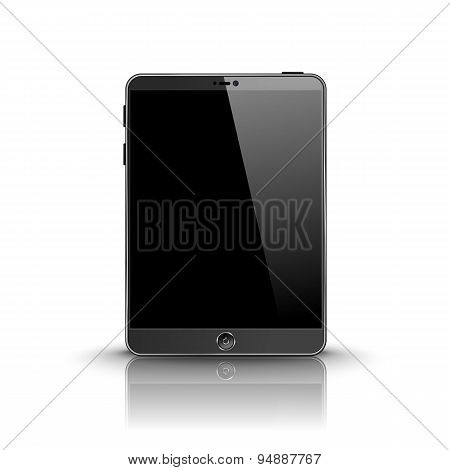 Dark modern tablet computer with black screen isolated on white background