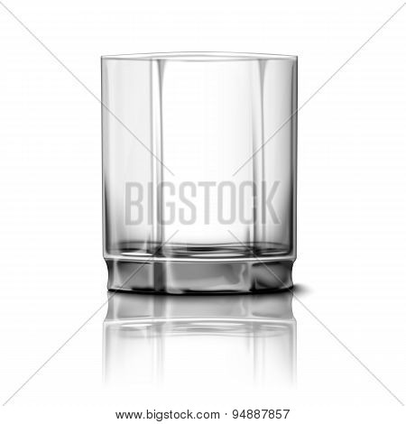 Realistic Vector glass isolated with reflection. Transparent for every background.