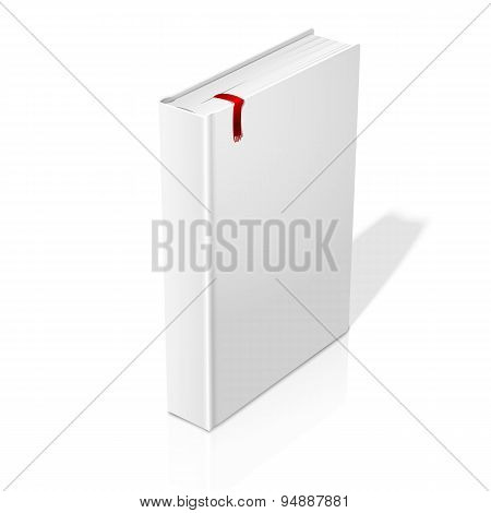Realistic standing white blank hardcover book with red bookmark. Vector