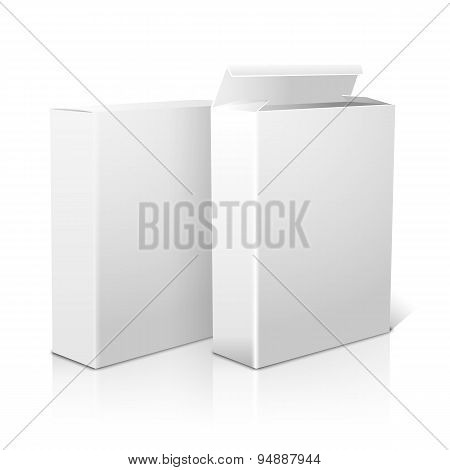 Two realistic blank paper packages for cornflakes, muesli, cereals etc. Isolated on white. Vector