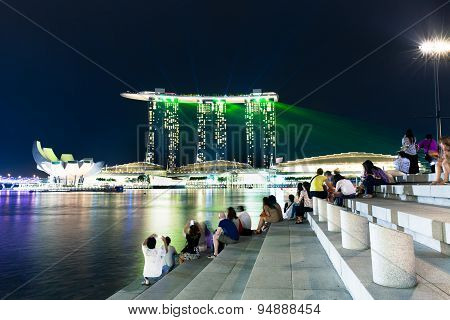 Laser show on Marina Bay Sands, Singapore