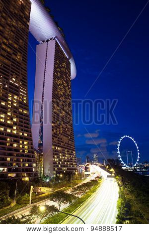 Marina Bay Sands Hotel and Singapore Flyer at night