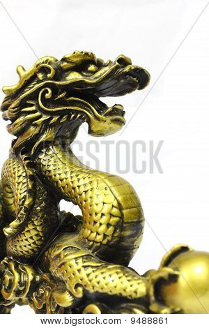 Golden dragon on white