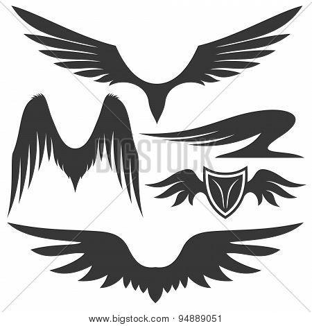 Vector set of wings.