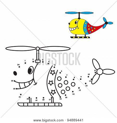 Dot to dot game, helicopter coloring book for children.