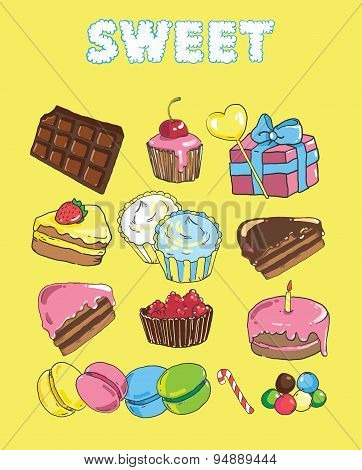 Set With Bake And Sweets. Background With Colorful Various Candy, Sweets And Cakes