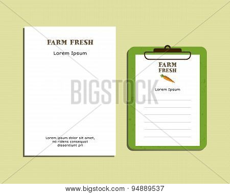 Professional Corporate Identity kit or business kit. A4 and A5 size. With organic farm fresh logo te