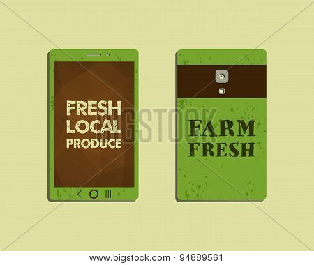 Corporate identity template design for natural and organic shop products. Mobile device, smart phone