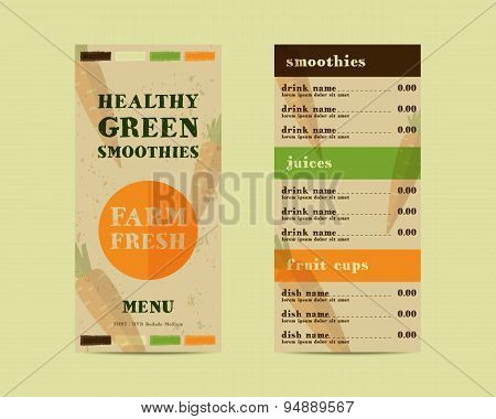 Vegetable smoothie menu vector concept. Fresh elements for cafe or restaurant with energetic fresh d
