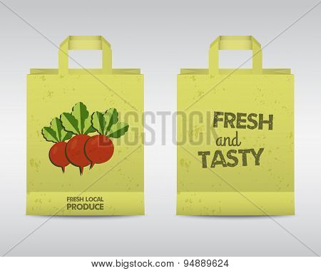 Summer Farm Fresh paper bag template. Stylish Mock up design with shadow. Best for natural shop, org