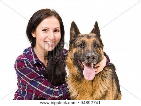 Portrait of a smiling beautiful young woman and German Shepherd