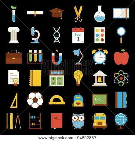 Big Flat Back To School Objects Set Over Black Background