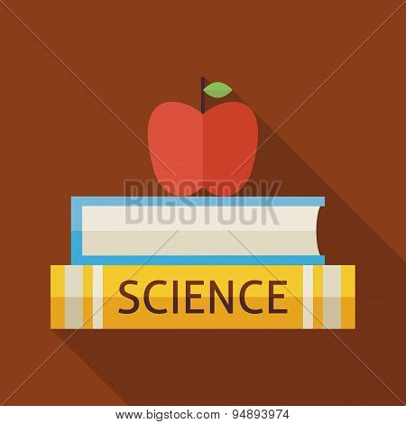 Flat Science Book With Apple And Knowledge Illustration With Shadow