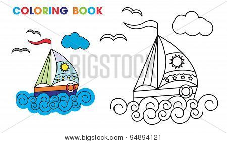 coloring book. sailboat on the waves, to teach kids at home or in kindergarten.