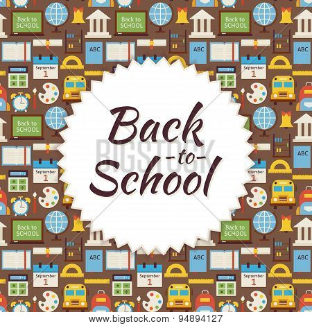 Flat Vector Pattern Back To School Background