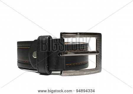 Belt Brown Leather In White Background