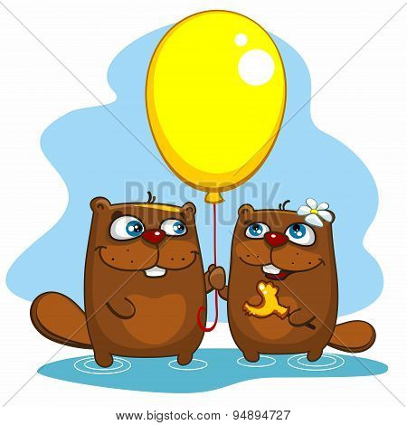 Two beavers with a balloon