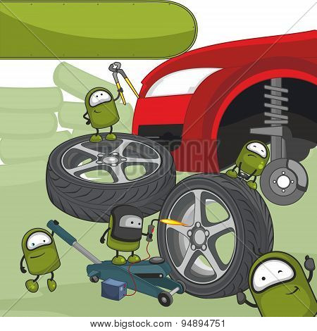 Little green characters fixing a car