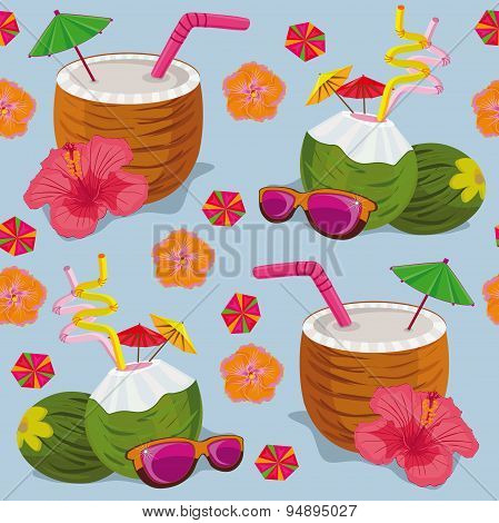 Seamless pattern. Tropical cocktails on a blue background.