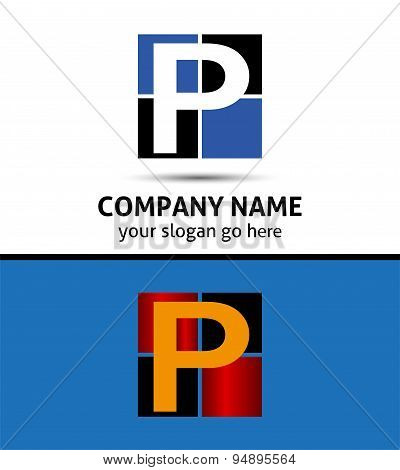 Letter P logo icon template elements