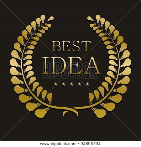 vector gold laurel wreath with sample text