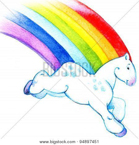 Cartoon rainbow horse running across the sky watercolor illustration