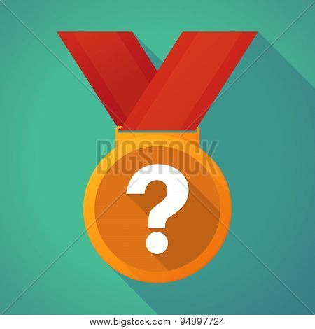 Long Shadow Medal With A Question Sign