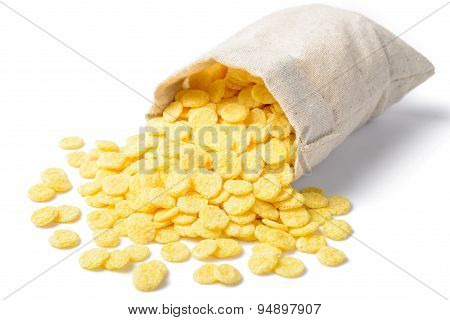 Corn Flakes On The White Background