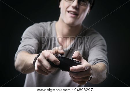 Nerd Teen Playing Videogames