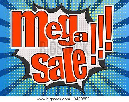 Mega Sale Comic Speech Bubble