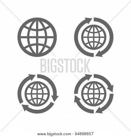 Globe earth icons as a symbol of travelling