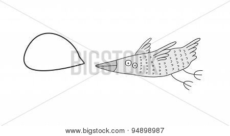 Bird With A Speech Bubble, Vector Illustration