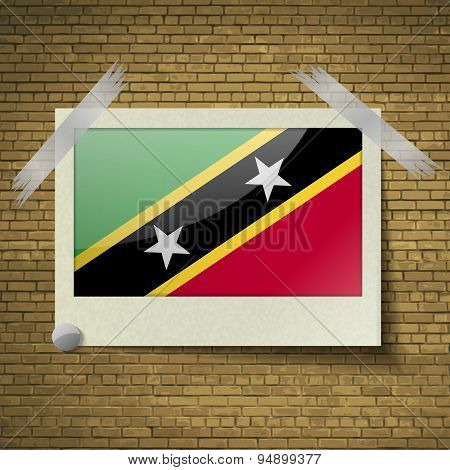 Flags Saint Kitts Nevisat Frame On A Brick Background. Vector