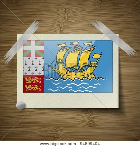 Flags Saint Pierre Miquelon At Frame On Wooden Texture. Vector
