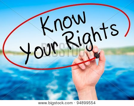 Man Hand writing Know Your Rights with black marker on visual screen.