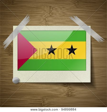 Flags Sao Tome Principe At Frame On Wooden Texture. Vector